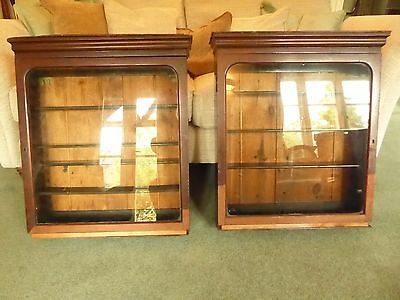 Pair Vintage Antique wooden wall units  display shops home collections