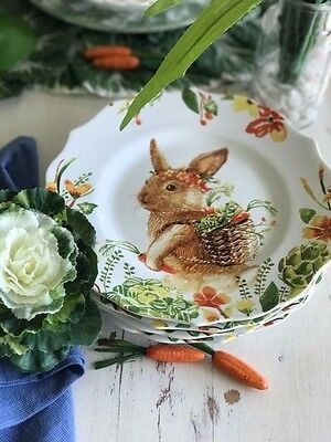 Set of 4 Easter Bunny Lilly Spring Vegetable Garden Salad Plates Pier 1 SOLD OUT