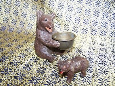 VINTAGE BLACK FOREST BEAR FIGURE WITH BRASS BOWL & baby