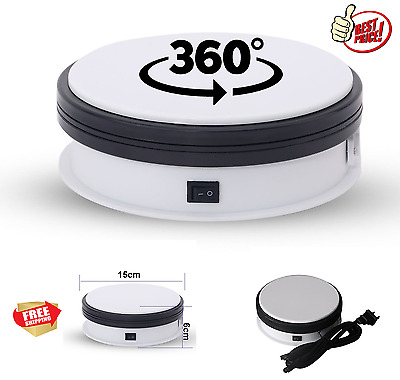 """Motorized Rotating Display Stand 6"""" Turntable Electric Loading Top 20kg White"""
