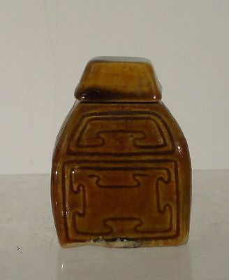 Antique Brown Glazed Art Nouveau Arts and Crafts Inkwell Signed Roycroft? Stone