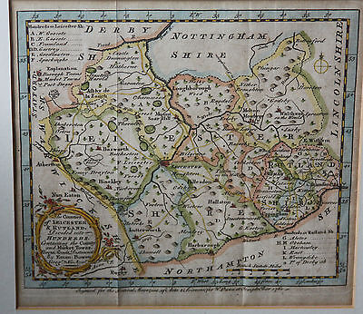 Map of Leicestershire and Rutland hundreds: hand-tinted engraving