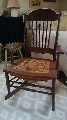 Antique Oak Rocking Chair Rocker With Cane Seat