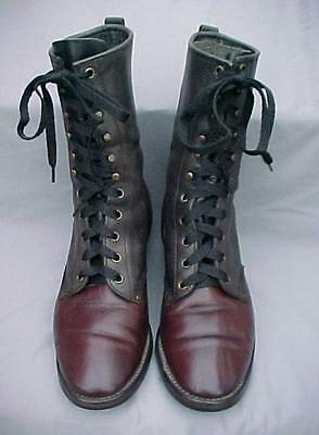 Leather No Name Black & Brown Western Lace-Up Boots Men's Size 8 D