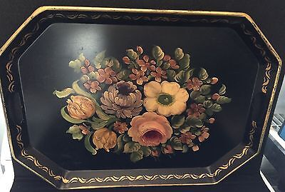 Beautiful Large Hand Painted Antique Toleware Tray