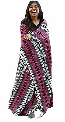 #11 Classic Striped Car Blanket Yoga Pilates Throw Beach Rug Pink Fuscia Mat