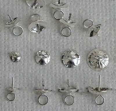 Sterling Silver Pendant Earring Pearl Caps Cups Half Drlled Bead 3 4 5 6 mm x 2