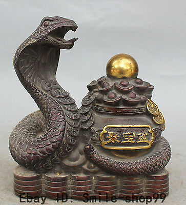 "9"" Marked Chinese Bronze Gilt Wealth Money Snake Animal treasure bowl Sculpture"