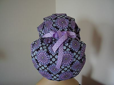 Bouffant/Ponytail Combo Surgical Scrub Hat -Multi color-purples-One Size