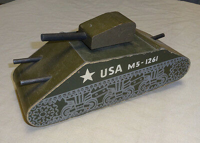 VINTAGE ANTIQUE WOOD WWII 1944 ARMY TANK M5-1261 VERY RARE Wood Commodities Corp