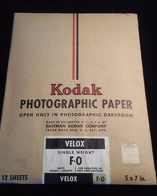 Kodak 5x7 Photographic Paper VELOX F-0 Single Weight Vintage Sealed Film