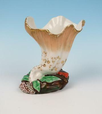 Antique Shell & Coral Porcelain Vase English Old Paris French Figural Gold Sea