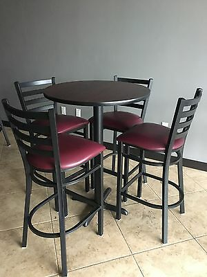 "Belnick 30"" Round High-Top Restaurant/Cafe/Bar Table and 4 Seat Chair set"