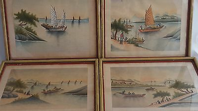 4 x Vintage Hand Painted Chinese Watercolours On Silk Figures Ship Boats Framed