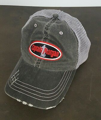 Captain Morgan Distressed Hat Cap Mesh Back with Hook and Loop Adjustable
