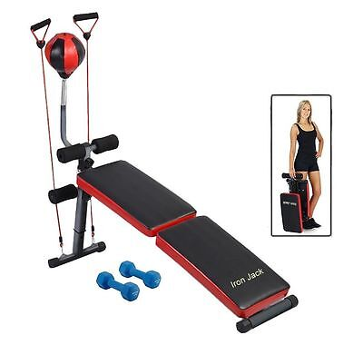 Adjustable Curved Bench Decline with resistance bands and detachable speed ball