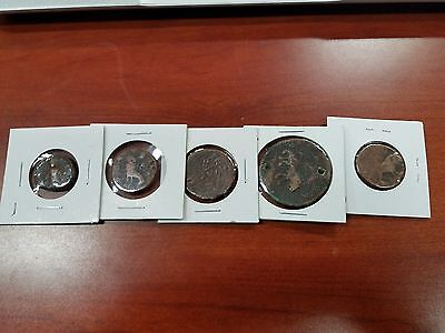 Lot Of 5 Ancient Roman Copper Coins With Animals