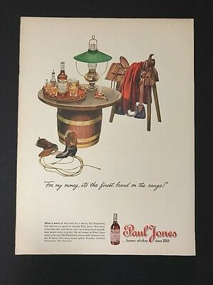 Paul Jones Whiskey | 1945 Vintage Print Ad | Large Ad Color Illustration Liquor