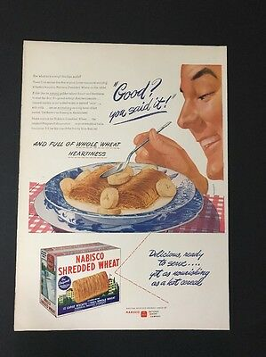 Nabisco Shredded Wheat | 1945 Vintage Print Ad | Large Ad Color Illustration