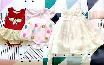 3 X Baby Girls Size 000 Dress And Onsies