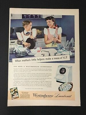 Westinghouse Laundromat | 1945 Vintage Print Ad | Large Ad Color