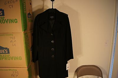 NEW Nine West Womens BLACK  Wool Blend Button Front Coat Jacket 8