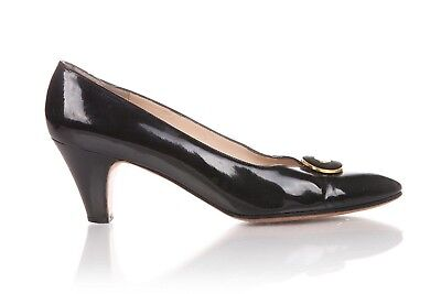 19d688bf24a SALVATORE FERRAGAMO Heels US 8.5 AA Patent Leather Black Gold Low Pumps  Narrow