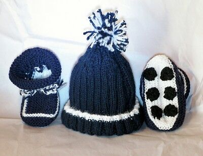 HAND KNITTED CARLTON BLUES FOOTBALL BABY BEANIE & BOOTIES SET 0- 3 Months