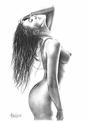 NUDE  FEMALE STUDY A4 PRINT of the original pencil drawing