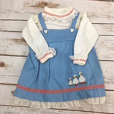 Vintage VTG Toddler Girls Blue Jumper Dress With Embroidery 24 Months 2T