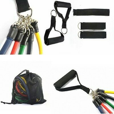11Pcs/Set Resistance Bands Latex Tube Chest Expander Yoga Gym Workout Exercise