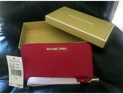 Authentic Michael Kors Jet Set Saffiano Leather Travel Wallet Wristlet In RED