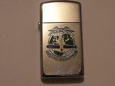 1983 Thin Zippo Uss George Washington 598 Nuclear Submarine First In Peace