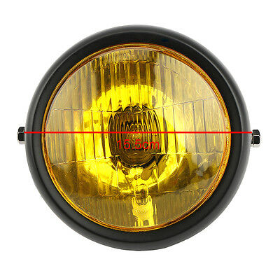 "Motorcycle 6.5"" Black Golden Yellow Amber Side Mount Headlight For Honda Harley"