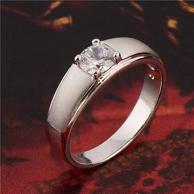 Simple Vintage Fashion 9K White Gold plated CZ Wedding Engagement Ring  8#