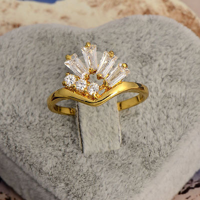 2016 Fashion Womens Cute Dazzling 9k Yellow Gold plated White CZ Rings Size 7#