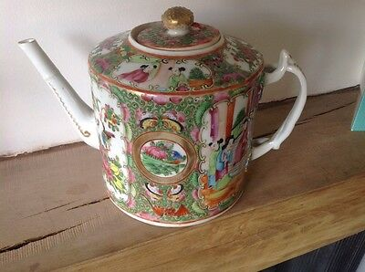 REDUCED RARE 19th Century Chinese Export Famille Rose Decorated Teapot