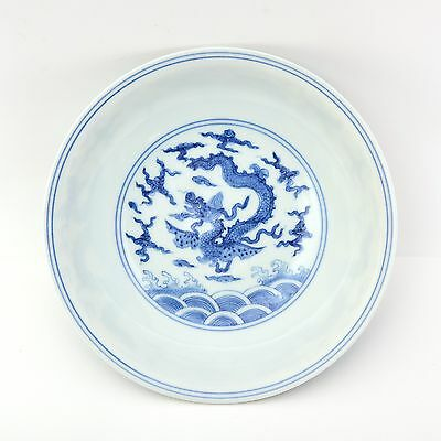 Beautiful Chinese Porcelain Blue and White Plate with Dragon Marked Chenghwa