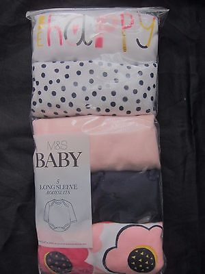 New Baby Girls Marks & Spencer White & Pink Long Sleeved Vests 6-9 9-12 Months