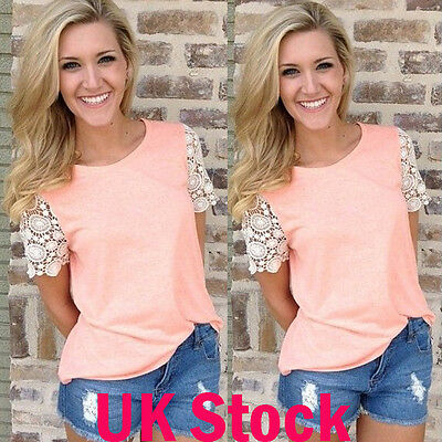 UK Women Round Neck Short Floral Sleeve Top Ladies Summer Casual Blouse Shirt
