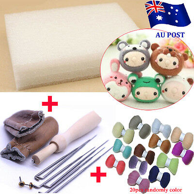 20 Colour DIY Wool Needles Felt Tool Set + Needle Felting Mat Starter Kit  BO