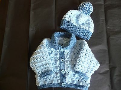 """New Hand Knitted Baby Cardigan & Hat  ~ 16"""" ~  Boy ~ (0 - 3 mnths)  Blue"""