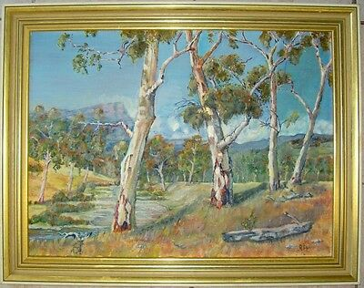 Large framed oil on canvas/board of a creek in the outback by R Daly