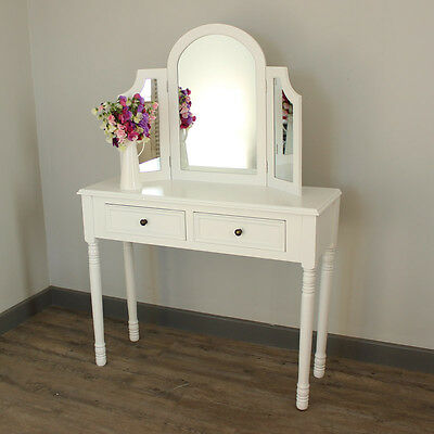 white wooden dressing table and triple mirror bedroom furniture set home