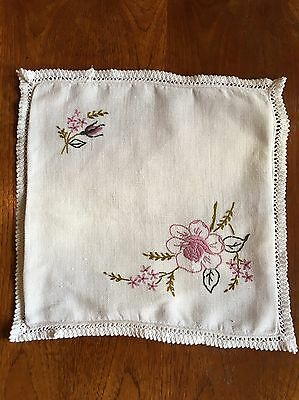 Vintage Hand Embroidered Pillow Cushion Cover With Flowers And Trim