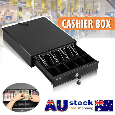Heavy Duty Cash Drawer Cash Register POS Removable Tray Bills & Coins Slots RJ11