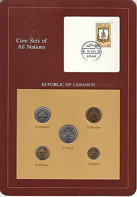 Coins of All Nations Set - Lebanon - 5 Coins - 1975-81