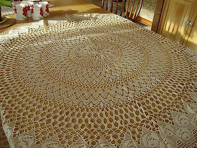 "Vintage Antique Hand Thread Crochet 50"" Round Lace Openwork Tablecloth  Estate"