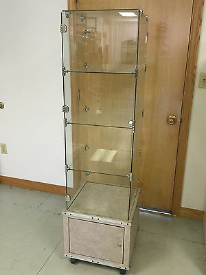 Retail Glass Tower Merchandising Display With Lockable Storage
