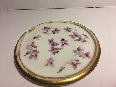 Antique Porcelain Painted Violets Gold Gilded Edge Round Trivet/Hot Plate